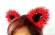 Kritter Klips Handmade Faux Fur Realistic Clip-On Animal Ears- Red Fire Fox Ears
