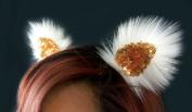 Kritter Klips Handmade Faux Fur Realistic Clip-On Animal Ears- Angel Gold Sequined Ears