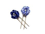 Kanzashi Fabric Flower Hair Pins Blue and White Japanese Geisha Handmade Hair Pins
