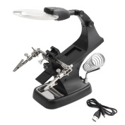 Intsun LED Helping Hands Magnifier Soldering Station 3X 4.5X Magnifying Glass with Clamp and Alligator Clips for Assembly, Repair, Modelling, Crafts