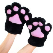 sea-junop Funny Party Cosplay Cat Paw Plush Gloves - Black