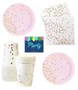 Pink and Gold Party Supplies - Elegant Party Supplies - Gold Foil Stamp Party Supplies For 12 Guests Including Dessert/Appetiser Plates, Napkins & Cups