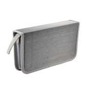 Unique Bargains Office Home Rectangle Polyester Double Side VCD CD Disc Bag Silver Tone Grey