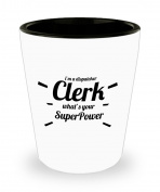 Best Shot Glass Coffee Mug- Dispatcher Gifts Ideas for Men and Women. I'm a Dispatcher Clerk what's your Superpower.