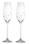Barski - Handmade Glass - Set of 2 - Wedding Toasting Champagne Flutes - Glasses Are Decorated with Real Diamonds - Packed In a Premium Gift Box - 210ml - Made in Europe
