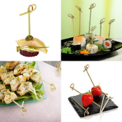 SNNplapla 100 Pcs 12cm Bamboo Knot Skewers Twisted Ends Bamboo Picks for Drink and Food Decoration