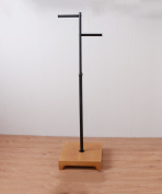 ZEMIN Floor Standing Coat Rack Tree Hat Stand Hanger Adjustable Wood Square Base 2 Hooks, 2 Colours Available