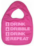 Dirty Fingers, Drink, Dribble, Drink, Repeat, Boy Girl Feeding Bib, Bubblegum Pink