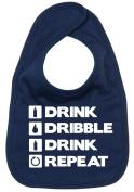 Dirty Fingers, Drink, Dribble, Drink, Repeat, Boy Girl Feeding Bib, Navy
