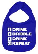 Dirty Fingers, Drink, Dribble, Drink, Repeat, Boy Girl Feeding Bib, Royal Blue