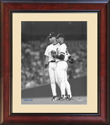 Derek Jeter Talking With Mariano Rivera On The Mound Black and White In 1996 20cm By 25cm Custom Framed Photo