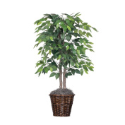 Vickerman 1.2m Artificial Natural Ficus Bush with Dark Green Leaves in Decorative Rattan Basket