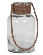 Hill's Imports Decorative Glass and Rope Lantern, Clear, 3.2kg