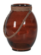 Hill's Imports Decorative Glass and Rope Lantern, Amber, 3.6kg