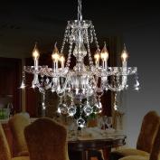 CRYSTOP Classic Vintage Crystal Candle Chandeliers Lighting 6 Lights Pendant Ceiling Fixture Lamp for Elegant Decoration D23.15cm X L47.5.1cm