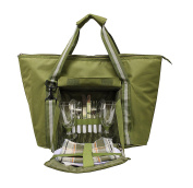 Earthwise Large Insulated PICNIC BAG Basket Backpack Tote Set w/ COMPLETE 2 PERSON TABLE SETTING Utensils Set ZIPPER Compartment & Adjustable Shoulder Strap