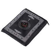 Hitopin Portable Black Colour Muslim Prayer Rug with Compass Pocket Size Prayer Mat ompass Qibla finder with Booklet Waterproof Material HP-PMBk