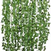 26m-12 Pack Artificial Ivy Leaf Garland Plants Vine Hanging Wedding Garland Fake Foliage Flowers Home Kitchen Garden Office Wedding Wall Decor