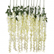 Luyue 1m Artificial Silk Wisteria Vine Ratta Silk Hanging Flower Wedding Decor,6 Pieces,White