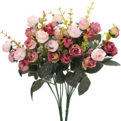 Luyue 7 Branch 21 Heads Artificial Silk Fake Flowers Leaf Rose Wedding Floral Decor Bouquet,Pack of 2