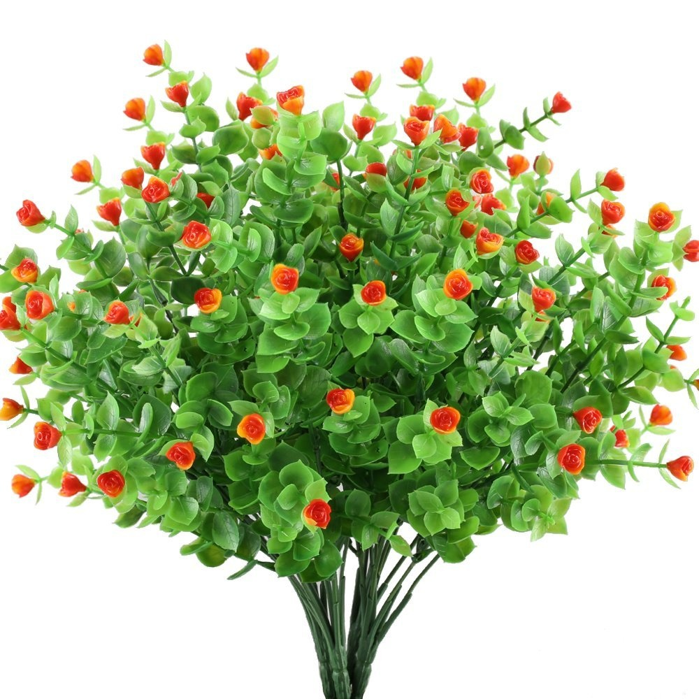 Gtidea 4pcs Artificial Greenery Plants Fake Shrubs Plastic