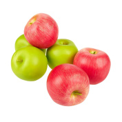 Set of 6 Fake Fruit Apples - Artificial Fruit Plastic Apples for Still Life Paintings, Storefront Decoration, Kitchen Decor, Red and Green - 2.7 x 5.6cm x 6.4cm