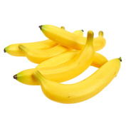 Set of 6 Individual Fake Fruit Bananas - Artificial Fruit Plastic Bananas for Still Life Paintings, Storefront Decoration, Kitchen Decor, Yellow, 8 x 9.4cm x 3.8cm