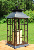 33cm Country Style Rustic Lantern with Flickering Flameless LED Candle