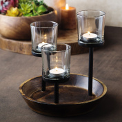 Elegant, Decorative Votive Candle holder Centrepiece, Glass Votive cups On Round Wood Base/ Tray For Weddings~Party Decoration~Dining Table~Events