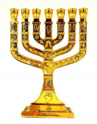12 Tribes Of Israel Jewish 7 Branch Gold Temple Menorah Candle Holder 13cm Tall