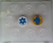 Hanukah gelt w/ raised star & menorah designs J015 Jewish Chocolate Candy Mould