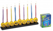 Emoji Menorah Set - (1) Emoji Menorah and (1) Box of 44 Colourful Candles