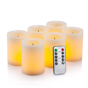 Flameless Flickering LED Candles 7.6cm X 10cm with 10-Key Remote Control Timer Classic Pillar Optical Fibre Wick Real Wax Battery Operated Candles, Ivory Colour, Set of 6