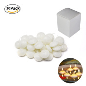 Etyhf 30 Pack Unscented 3.8cm Small Water Floating Disc Candles for Centrepieces,Wedding,Party and Home Decoration, White, 30 Pieces