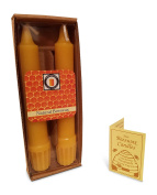 100% Pure Beeswax 15cm Colonial Taper Candle Pair, Natural Honey Scent, Hand Poured by Hubbardston Candle Company