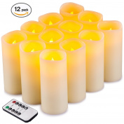 Flameless Candles Flickering LED Candles Set of 12 (D:5.6cm X H:13cm ) Ivory Real Wax Pillar Battery Opeated Candles with 10-key Remote and Cycling 24 Hours Timer