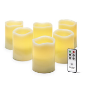 6 Ivory Flameless Pillar Candles with Melted Edge, 10cm , Warm White LEDs, Remote & Batteries Included