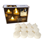 Candle Choice Set of 12 Premium Flameless Tealights with Timer, Battery-operated Candles, Long Battery Life 200+ Hours, Battery Included, Bright LED