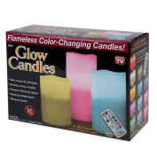 Glow Candles Flameless Colour Changing Pillars (Set of 3) | As Seen On TV | Made from Real Wax