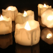 Youngerbaby 12pcs Warm White Flickering Timing LED Tea Light Candles With 100 Fake Rose Petals, Flameless Battery-operated Tealights with Timer (6 Hrs on 18 Hrs Off) for Wedding, Christmas, Outdoor