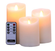 "Remote Include Set of 3 Sizes (7.6cm Diax 4"" 13cm 15cm H) Flameless Pillar Candles ,Real Wax & Moving Flame Wick LED Candles with Timer, Battery Operated, Ivory"