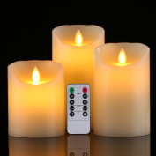 Flameless Candle,Da by 10cm 13cm 15cm Set of 3 Realistic Dancing LED Flickering Wick for Parties,Home,Public Elegant Events, Battery Powered, 10-Key Remote Control , Ivory Colour