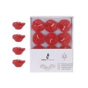 Mega Candles - Unscented 3.8cm Floating Rose Flower Candles - Red, Set of 12