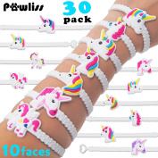 Pawliss Emoji Bracelets Wristband, Unicorn Birthday Party Favours Supplies for Kids Girls, Emoticon Toys Prizes Gifts, Rubber Band Bracelet 30 Pack