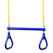 JGS 46cm Heavy Duty Trapeze Swing Bar Combo with Rings and Extra Long 110cm Coated Chain - Great for Outdoor Play, Backyard Swing Set, Jungle Gym