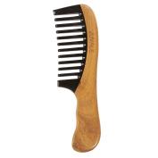 Wide Tooth Sandalwood Comb - Wooden Anti Static Hair Comb for Men and Women, Moustache Comb, Beard Comb, Brown - 7.5 x 0.6cm x 5.3cm