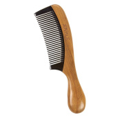 Fine Tooth Sandalwood Comb - Wooden Anti Static Hair Detangling Comb for Men and Women, Moustache Comb, Beard Comb, Brown - 7 x 1.5cm x 4.6cm