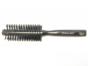 Small Boar Bristle Round Brush for Volume, Curls, and Waves, Smooth and Shine Brush for Medium to Long Hair, Wood Barrel