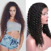 GEM Beauty Brazilian Curly Weave Human Hair Half Lace Wig Natural Black