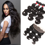 8A Indian Virgin Hair Body Wave 3 Bundles with Lace Frontal Closure Indian Remy Human Hair Extensions Body Wave Ear to Ear Lace Frontal 13x4